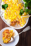 Indian Biryani Casserole with Shrimp. On table Royalty Free Stock Photo