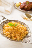 Indian biryani rice and curry with backgrounds Royalty Free Stock Photo