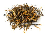 Indian black ASSAM gold tea isolated   on a white Royalty Free Stock Photos