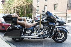 Indian black motorcycle in New York City, USA stock image