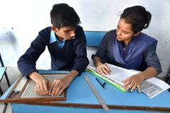 Indian Blind Student Giving Examination stock image