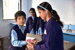 Indian Blind Student During Raksha Bandhan Festival. royalty free stock image