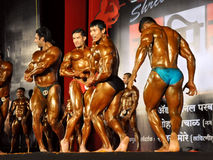 Indian bodybuilders competition Royalty Free Stock Photo