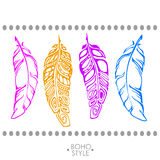 Indian Boho feather hand drawn. Boho feather hand drawn effect  style illustration. Vector illustration of boho feather. Boho indian feathers. Feathers for Royalty Free Stock Image