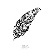 Indian Boho feather hand drawn. Boho feather hand drawn effect vector style illustration. Vector illustration of boho feather. Boho indian feathers. Feathers for Stock Images