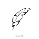 Indian Boho feather hand drawn. Boho feather hand drawn effect vector style illustration. Vector illustration of boho feather. Boho indian feathers. Feathers for Stock Photos