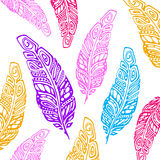 Indian Boho feather hand drawn. Boho feather hand drawn effect vector style illustration. Vector illustration of boho feather. Boho indian feathers. Feathers for Stock Illustration
