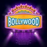 Indian bollywood cinema vector sign board. Illuminated banner bollywood movie film illustration Royalty Free Stock Photos
