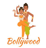 Indian Bollywood couple dancing vector Stock Photos