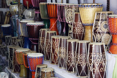 Indian bongo drums. For sale in a small shop stock image