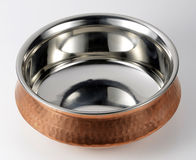 Indian bowl of steel and copper Royalty Free Stock Images