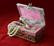 Indian Box for bijouterie. Decorated authentic Indian box for jewellery with pearl beads Royalty Free Stock Image