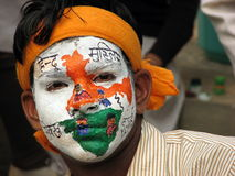 Indian boy. Colored his face with the map of India Royalty Free Stock Photography