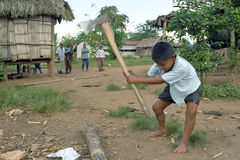 Indian boy is chopping wood with big ax, Nicaragua Stock Image