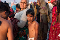 Indian boy in the crowd of people Stock Photo