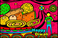 Indian boy with Diwali gift and sweets Royalty Free Stock Photography