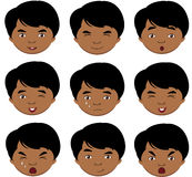Indian boy emotions: joy, surprise, fear, sadness, sorrow, crying, laughing, cunning wink. Indian boy emotions: joy, surprise, fear. Vector cartoon illustration royalty free illustration