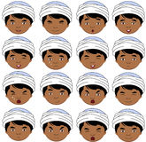 Indian boy emotions: joy, surprise, fear, sadness, sorrow, cryin Stock Images