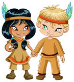 Indian Boy And Girl Holding Hands For Thanksgiving. A vector illustration of children dressed as indians and holding hands for thanksgiving or halloween royalty free illustration