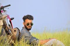 Indian Boy Posing With Motorbike Pune Maharashtra Stock Image Image Of Smart Goggle 112802179