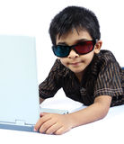 Indian Boy Posing to Camera. With 3d Glasses Royalty Free Stock Images