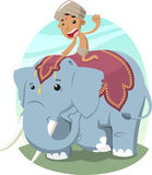 Indian Boy Riding Elephant,. Indian Boy with Turban Riding an Elephant,  illustration cartoon Royalty Free Stock Photos
