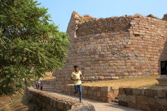 Indian boy running at Tughlaqabad Fort, Delhi, India Stock Photos