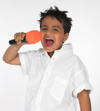 Indian boy singing song Stock Photos
