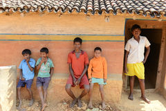 Indian Boys. A group of boys posing in a remote village of Raghunathpur- Jharkhand Royalty Free Stock Image