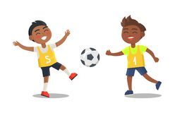 Indian Boys Playing Football in Sport Uniform. Isolated on white background. Vector illustration of smiling guys with ball, active way of life Royalty Free Stock Photography