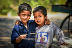 Indian boys. Posing for a photo, village near Hampi, India Stock Images