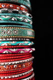 Indian Bracelets. Colorful indian bracelets close up Royalty Free Stock Photos