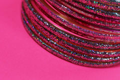 Indian bracelets. Pink bracelets stock photography
