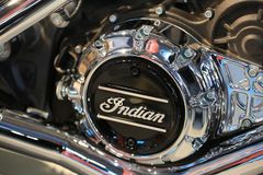 INDIAN. Brand name on the cover of the crankcase of motorcycle Indian Chieftain. Close-up Royalty Free Stock Images
