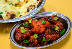 Indian bread and manchurian. Indian bread and cauliflower manchurian Royalty Free Stock Photography