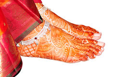 Indian bridal leg with henna Stock Images