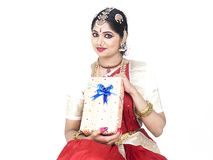 Indian bride with a gift box Stock Images