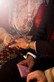 Indian bride and Groom. Bride wearing beautiful jewelry on her wedding day Stock Image