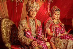 Indian bride and groom at wedding stock images