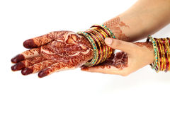 Indian bride hands with henna design Royalty Free Stock Images