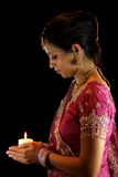Indian Bride Holding Candle Royalty Free Stock Photo