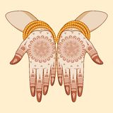 Indian bride with mehandi in hand Stock Images