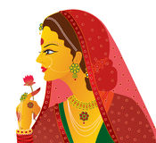 Indian bride vector isolated. Illustration of an Indian bride wearing traditional wedding clothes and make-up. isolated on white background Vector Illustration