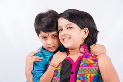 Indian brother and sister celebrating rakshabandhan or rakhi festival Royalty Free Stock Photography