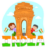 Indian brother and sister with flag of India Royalty Free Stock Photos