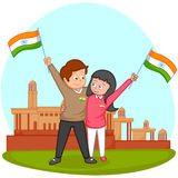 Indian brother and sister with flag of India Royalty Free Stock Image