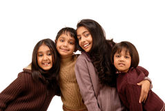 Indian brothers and three sisters Royalty Free Stock Image