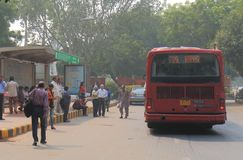 Indian bus commuters New Delhi India. People commute by bus in downtown New Delhi India Royalty Free Stock Photography