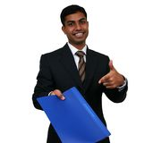 Indian business man. With at a file Royalty Free Stock Images