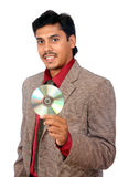 Indian business man with CD Royalty Free Stock Photography